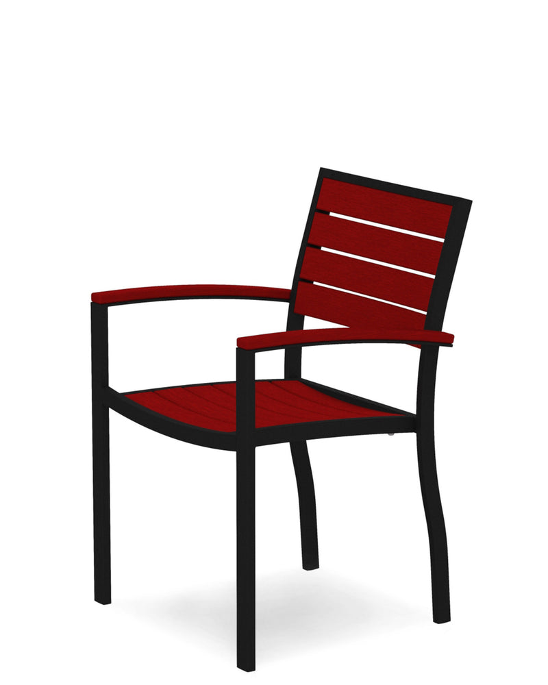 A200FABSR Euro Dining Arm Chair in Textured Black and Sunset Red