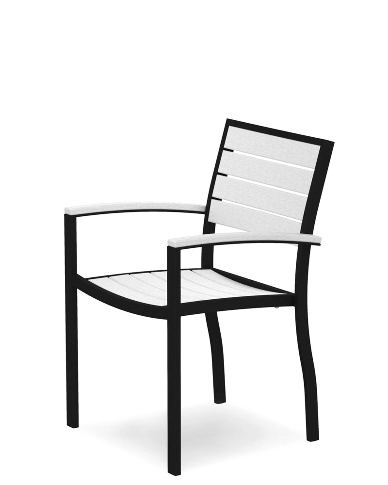 A200FABWH Euro Dining Arm Chair in Textured Black and White
