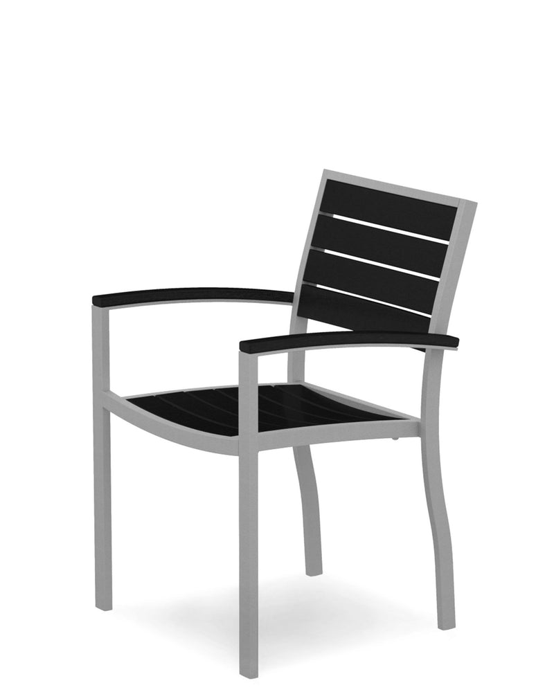 A200FASBL Euro Dining Arm Chair in Textured Silver and Black
