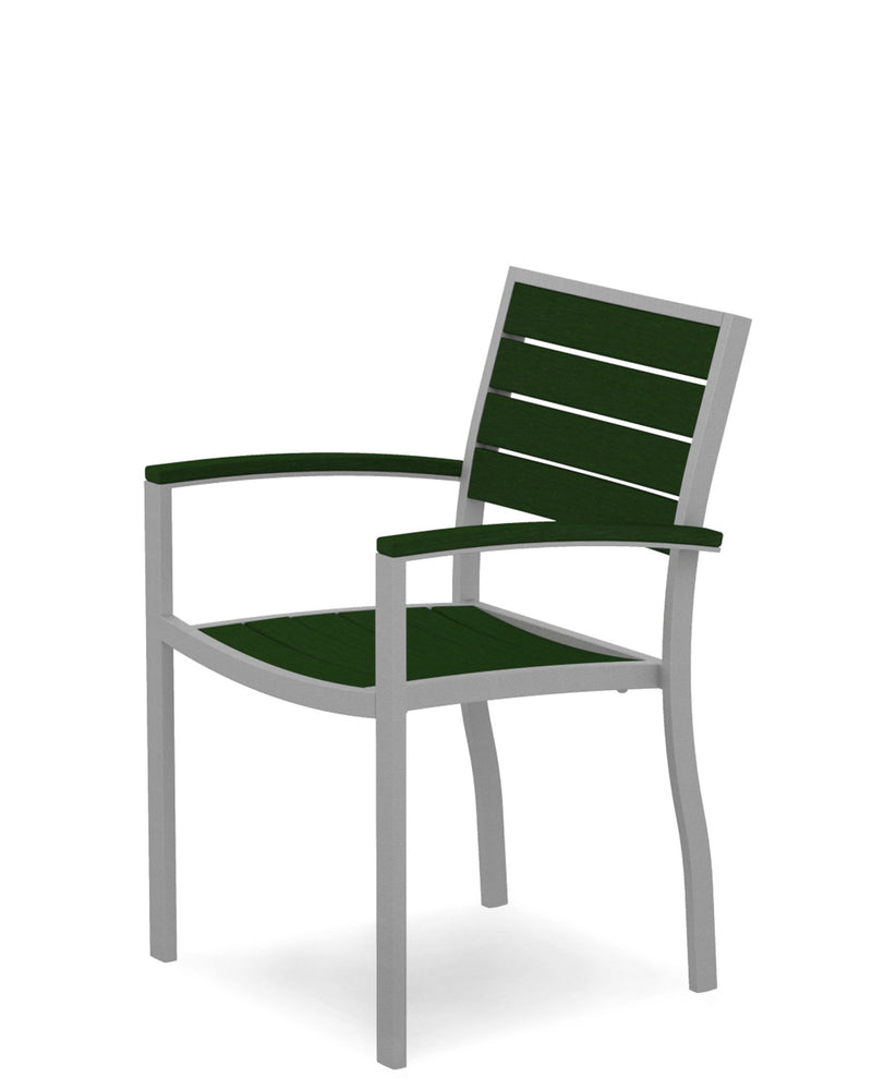 A200FASGR Euro Dining Arm Chair in Textured Silver and Green
