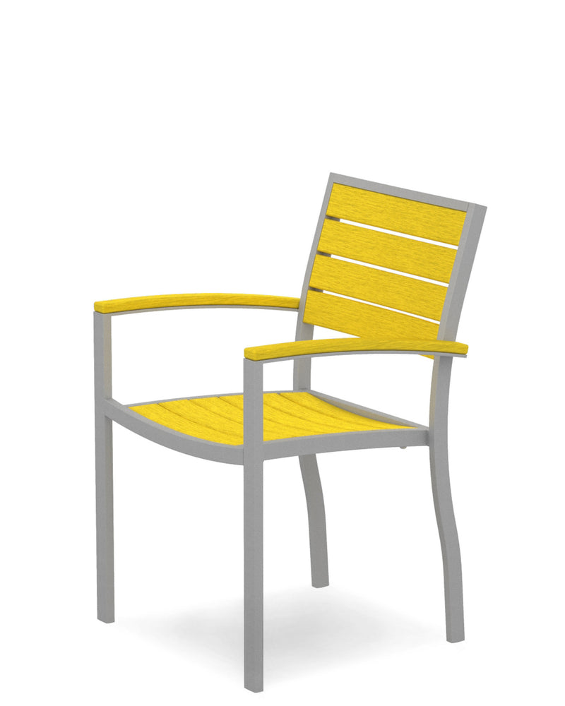 A200FASLE Euro Dining Arm Chair in Textured Silver and Lemon