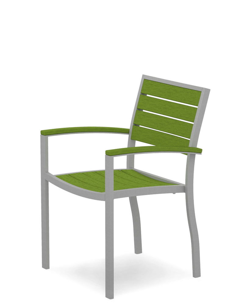 A200FASLI Euro Dining Arm Chair in Textured Silver and Lime