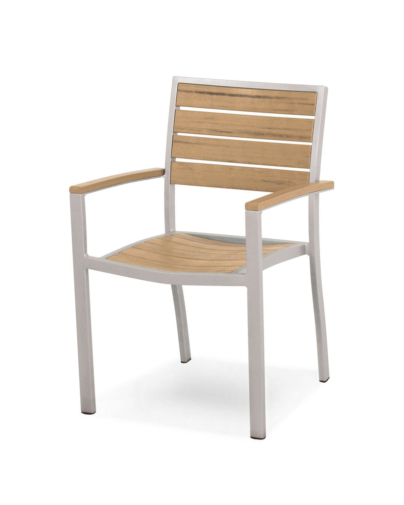 A200FASNT Euro Dining Arm Chair in Textured Silver and Plastique Natural Teak