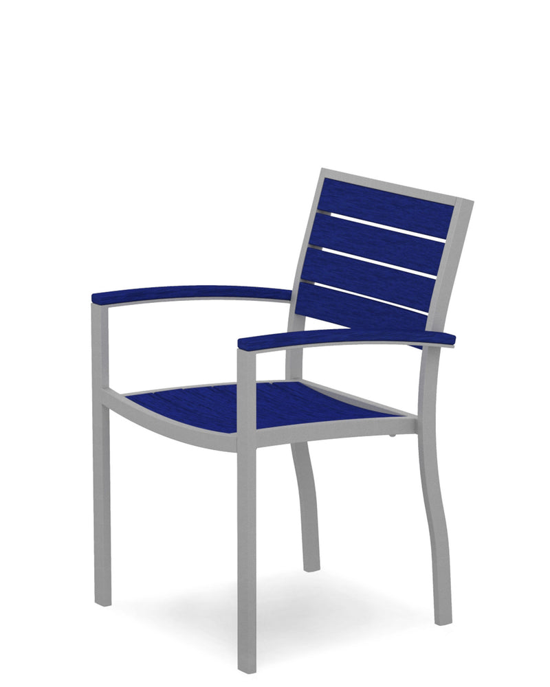 A200FASPB Euro Dining Arm Chair in Textured Silver and Pacific Blue