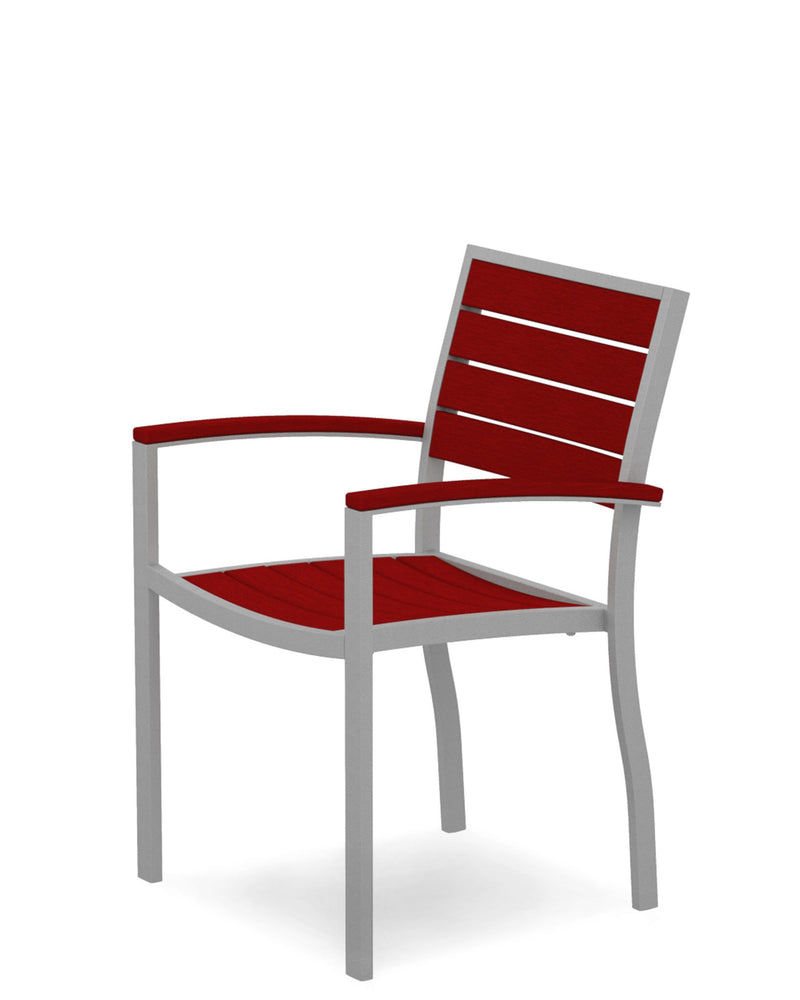 A200FASSR Euro Dining Arm Chair in Textured Silver and Sunset Red