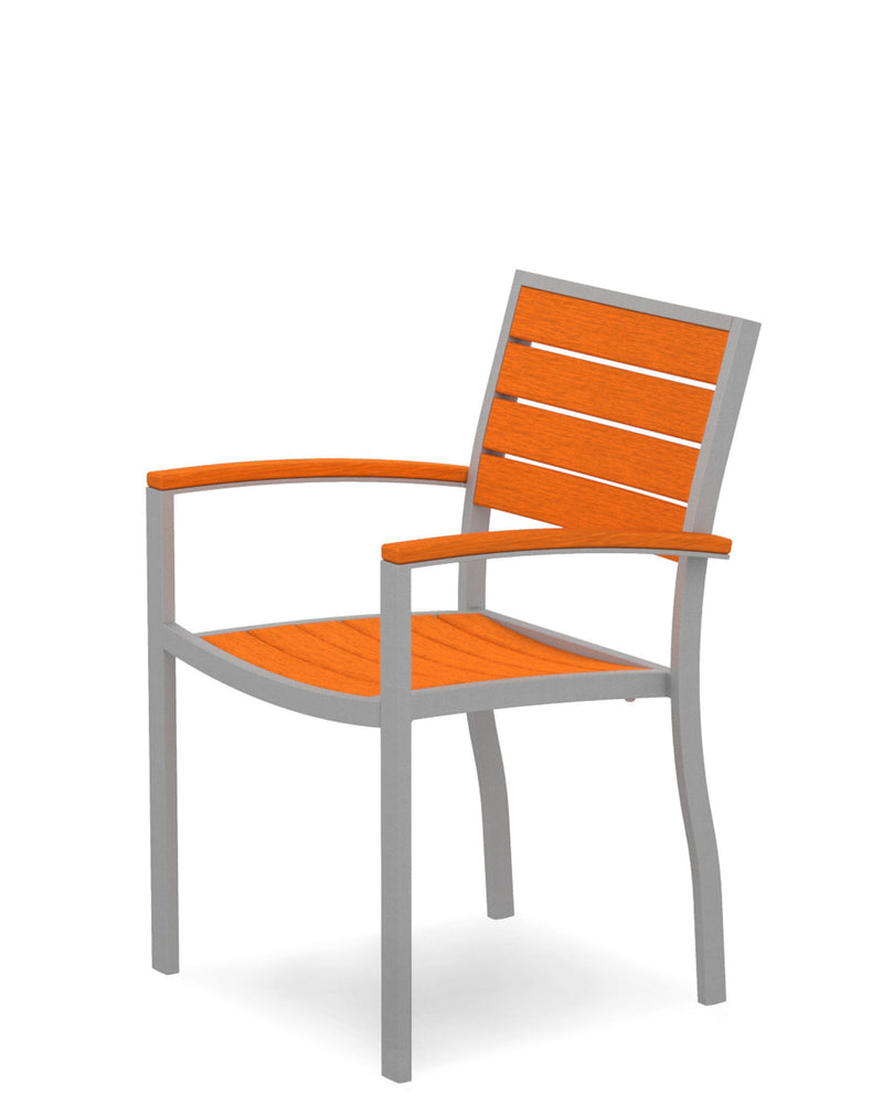 A200FASTA Euro Dining Arm Chair in Textured Silver and Tangerine