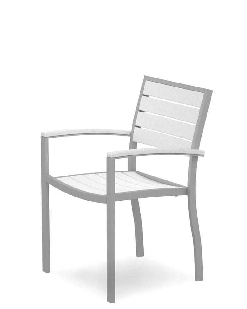 A200FASWH Euro Dining Arm Chair in Textured Silver and White