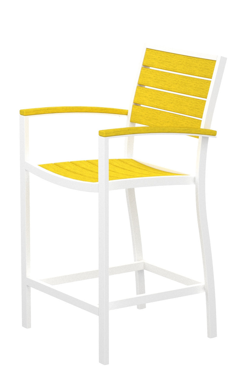 A201-13LE Euro Counter Arm Chair in Satin White and Lemon