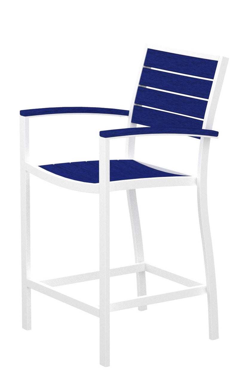 A201-13PB Euro Counter Arm Chair in Satin White and Pacific Blue
