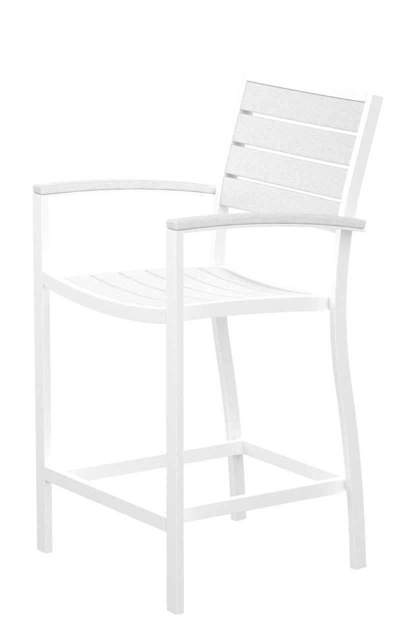 A201-13WH Euro Counter Arm Chair in Satin White and White