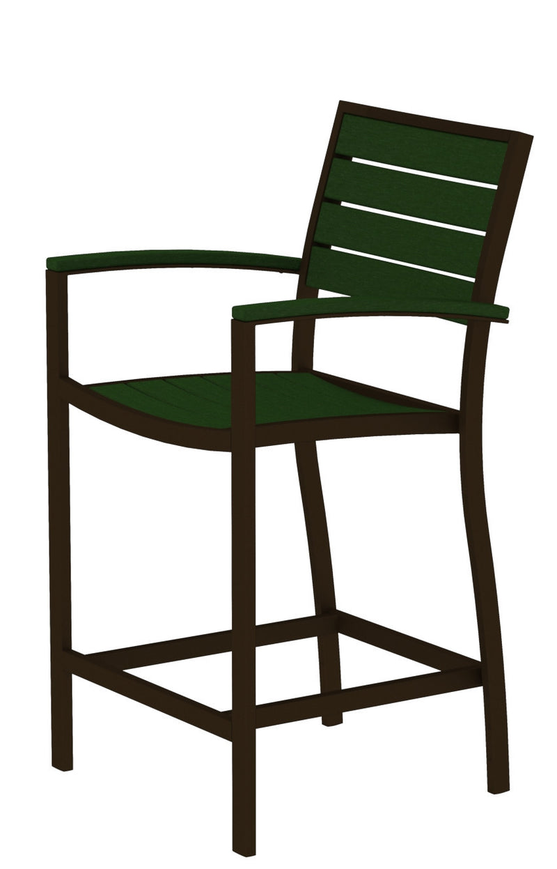 A201-16GR Euro Counter Arm Chair in Textured Bronze and Green