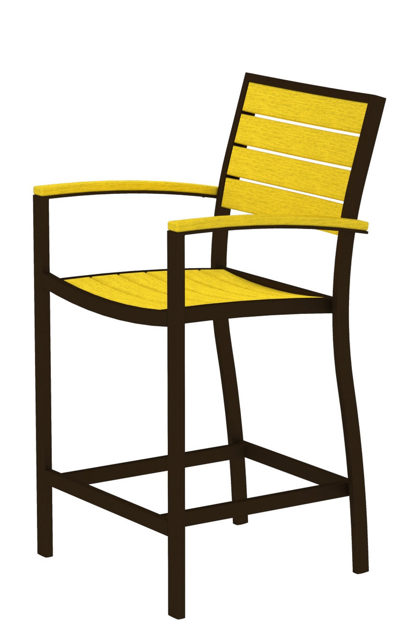 A201-16LE Euro Counter Arm Chair in Textured Bronze and Lemon