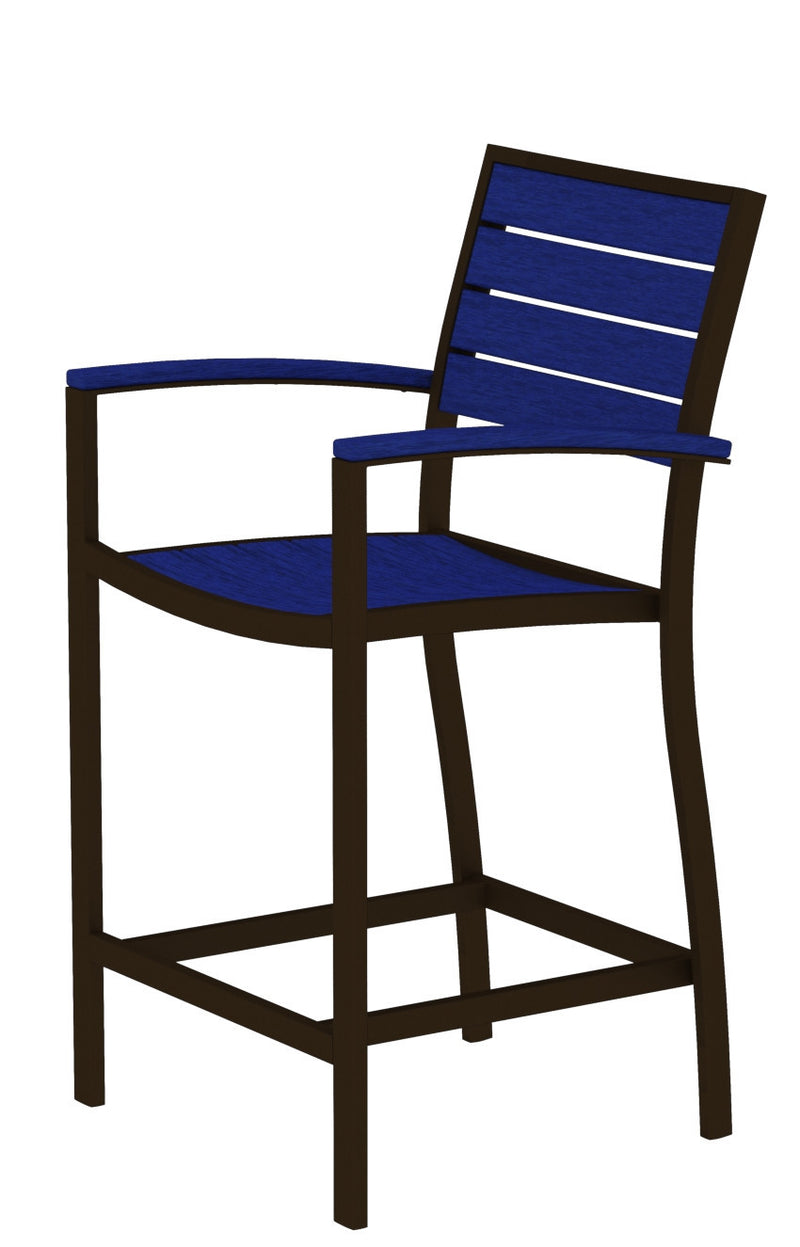 A201-16PB Euro Counter Arm Chair in Textured Bronze and Pacific Blue
