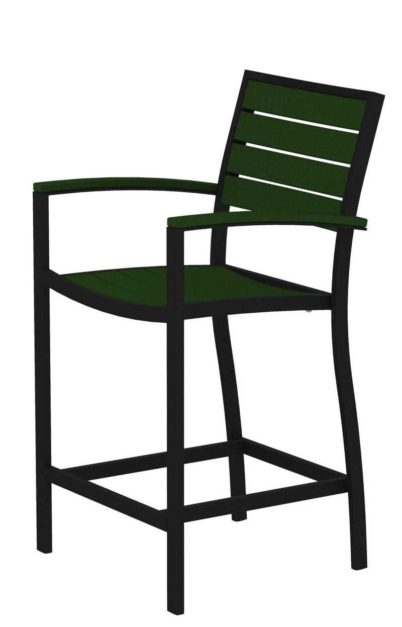 A201FABGR Euro Counter Arm Chair in Textured Black and Green