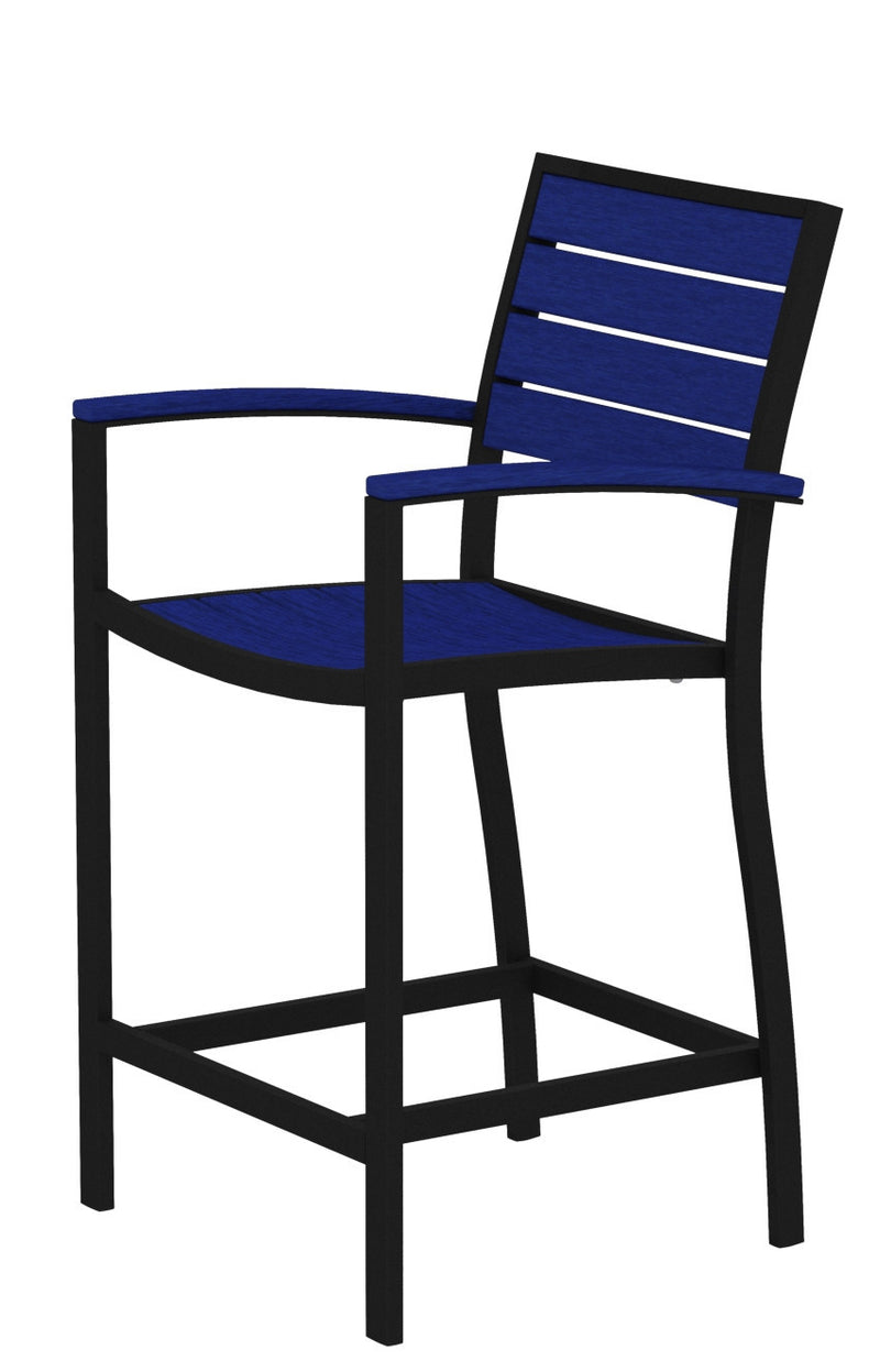 A201FABPB Euro Counter Arm Chair in Textured Black and Pacific Blue