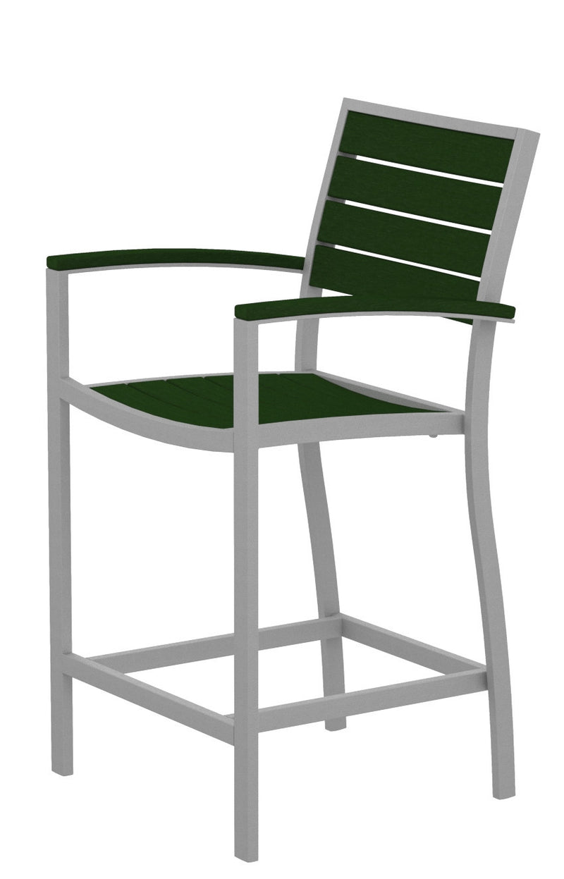 A201FASGR Euro Counter Arm Chair in Textured Silver and Green