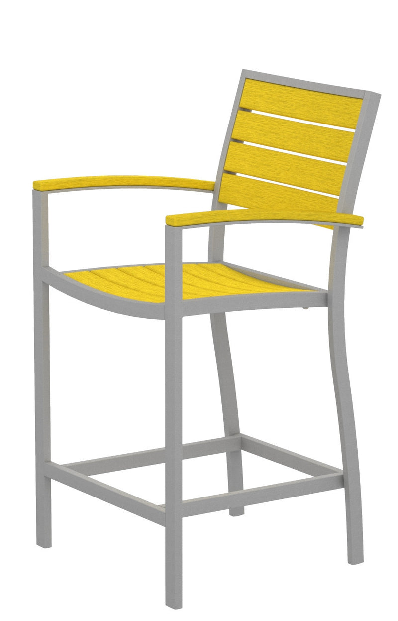 A201FASLE Euro Counter Arm Chair in Textured Silver and Lemon