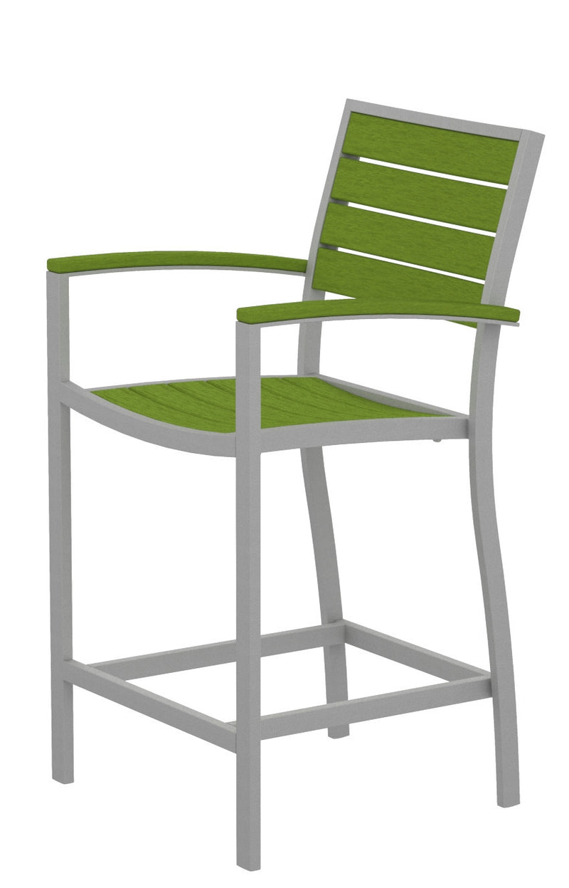 A201FASLI Euro Counter Arm Chair in Textured Silver and Lime