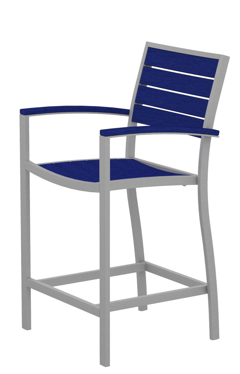 A201FASPB Euro Counter Arm Chair in Textured Silver and Pacific Blue