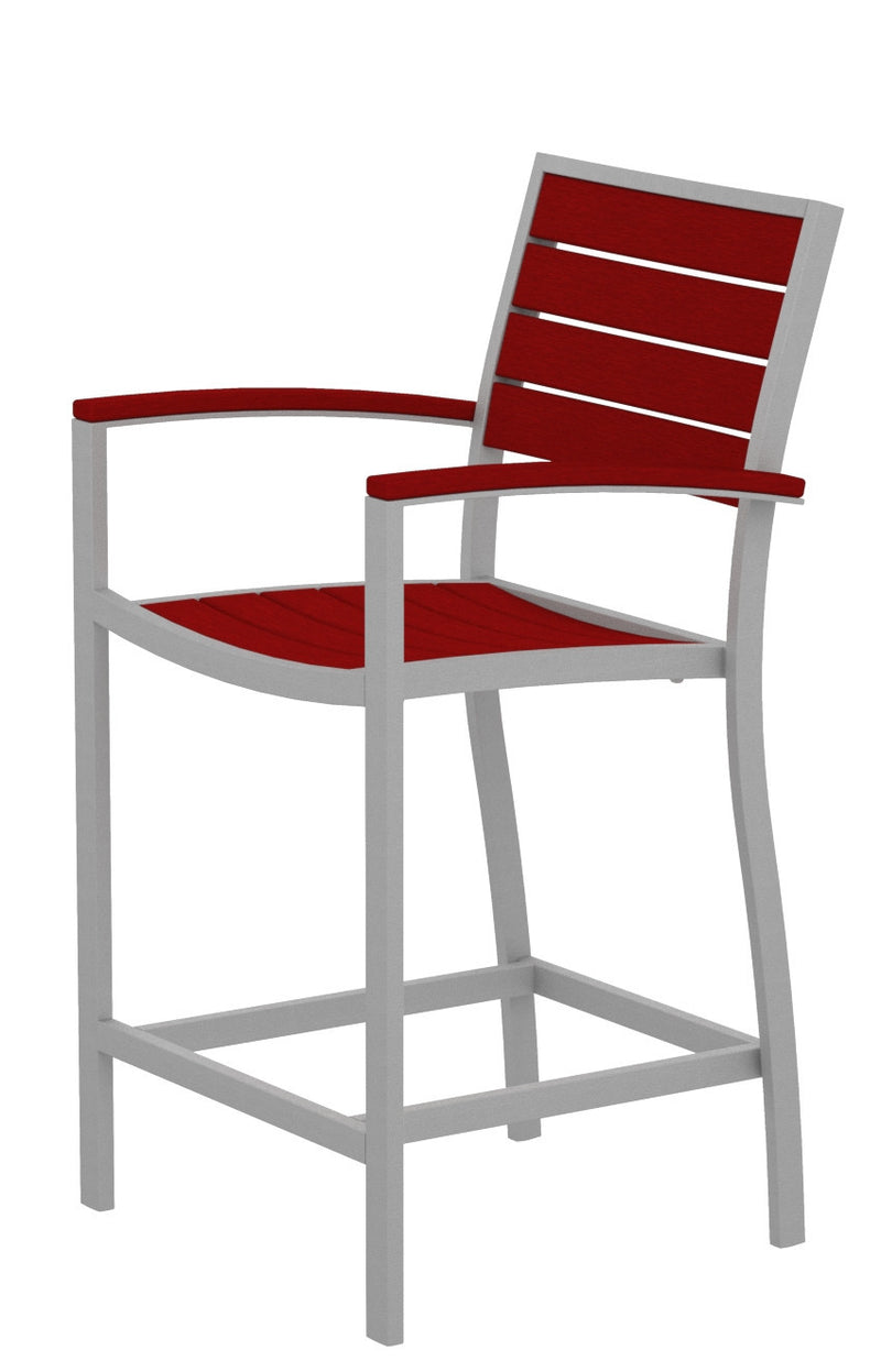 A201FASSR Euro Counter Arm Chair in Textured Silver and Sunset Red