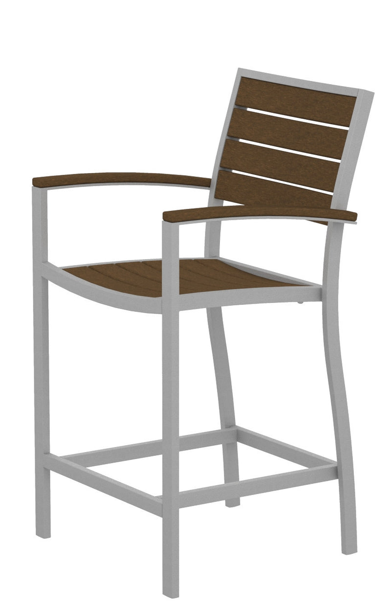 A201FASTE Euro Counter Arm Chair in Textured Silver and Teak