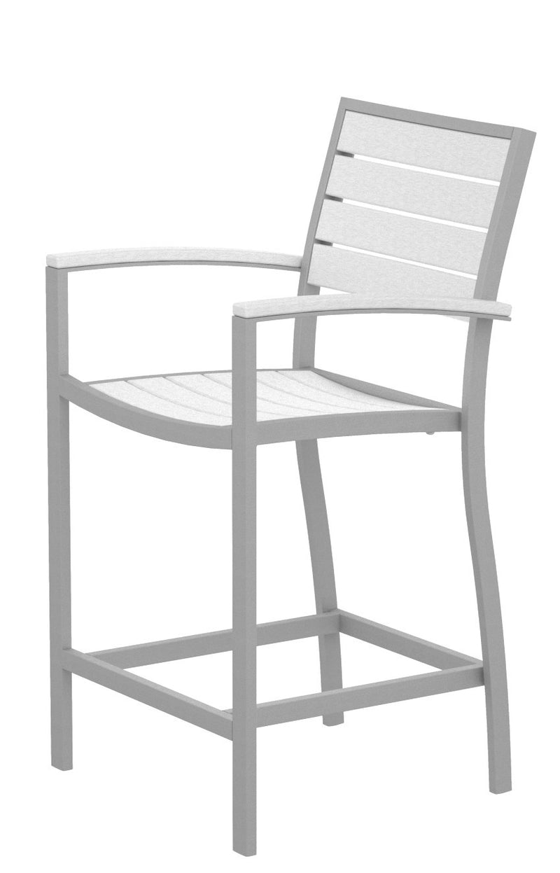 A201FASWH Euro Counter Arm Chair in Textured Silver and White