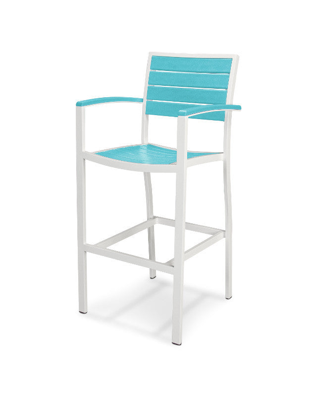 A202-13AR Euro Bar Arm Chair in Satin White and Aruba