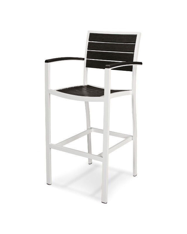 A202-13BL Euro Bar Arm Chair in Satin White and Black
