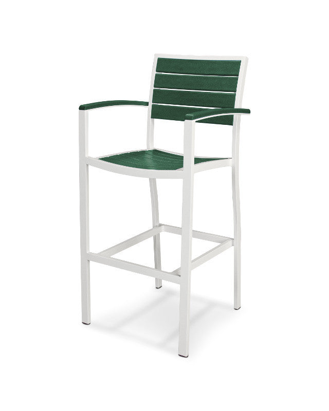 A202-13GR Euro Bar Arm Chair in Satin White and Green