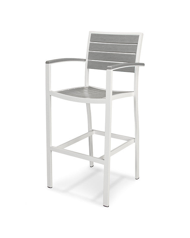 A202-13GY Euro Bar Arm Chair in Satin White and Slate Grey