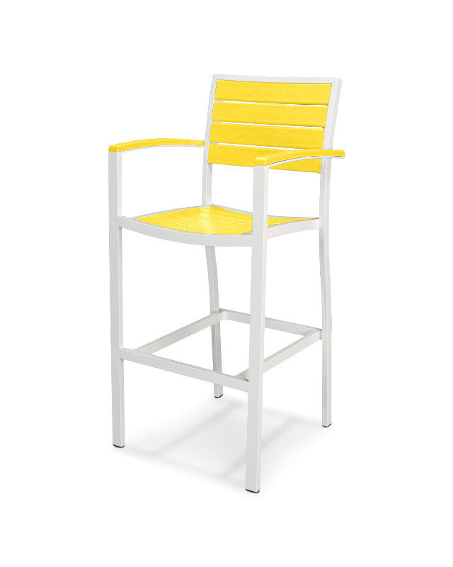 A202-13LE Euro Bar Arm Chair in Satin White and Lemon