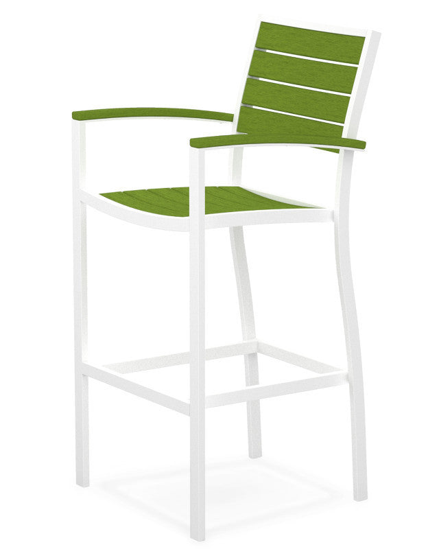 A202-13LI Euro Bar Arm Chair in Satin White and Lime