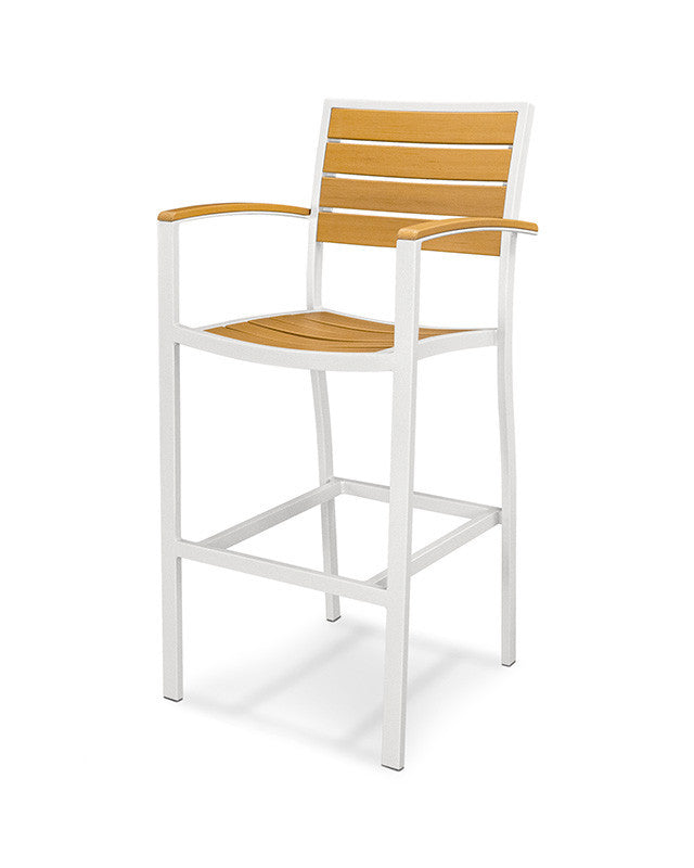 A202-13NT Euro Bar Arm Chair in Satin White and Plastique Natural Teak