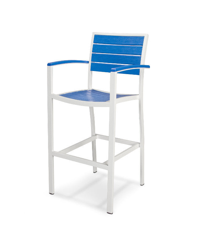 A202-13PB Euro Bar Arm Chair in Satin White and Pacific Blue