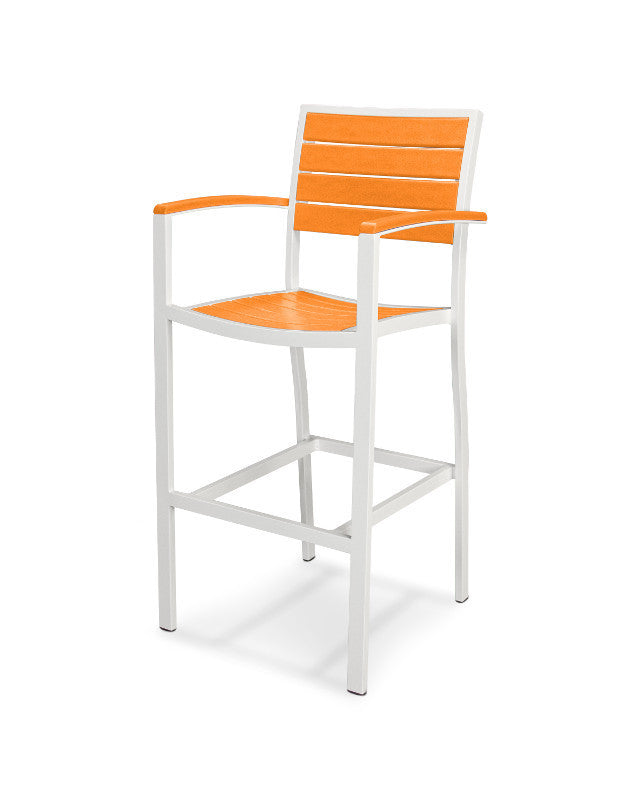A202-13TA Euro Bar Arm Chair in Satin White and Tangerine