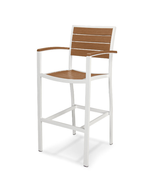 A202-13TE Euro Bar Arm Chair in Satin White and Teak