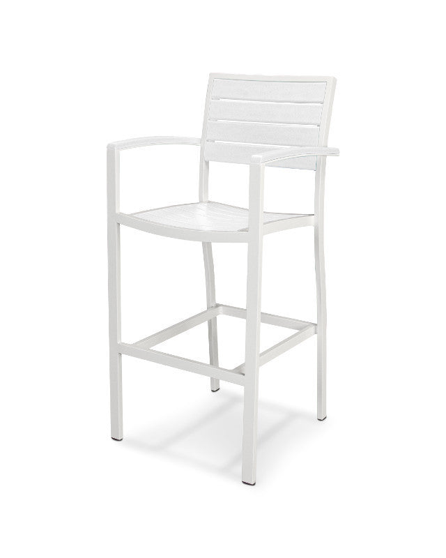 A202-13WH Euro Bar Arm Chair in Satin White and White