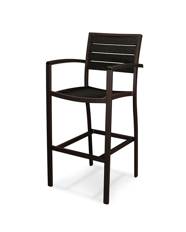A202-16BL Euro Bar Arm Chair in Textured Bronze and Black