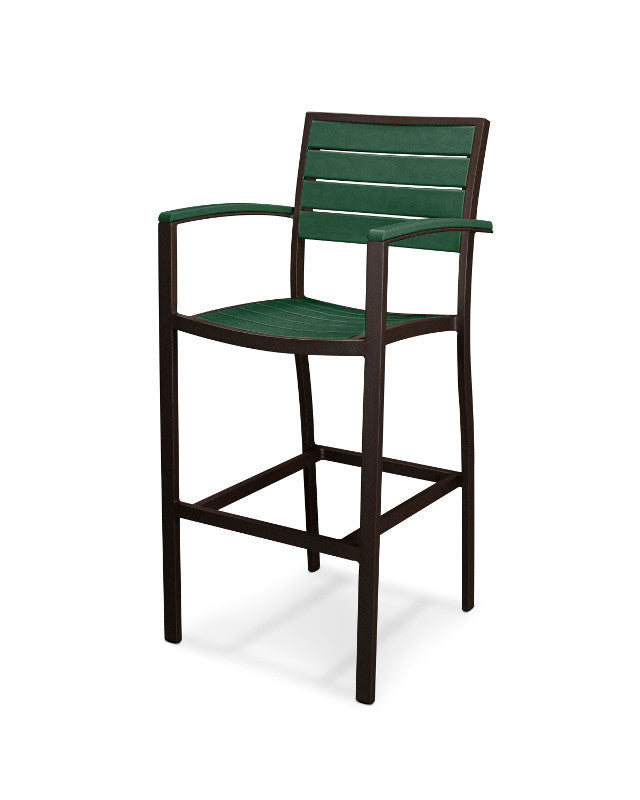 A202-16GR Euro Bar Arm Chair in Textured Bronze and Green