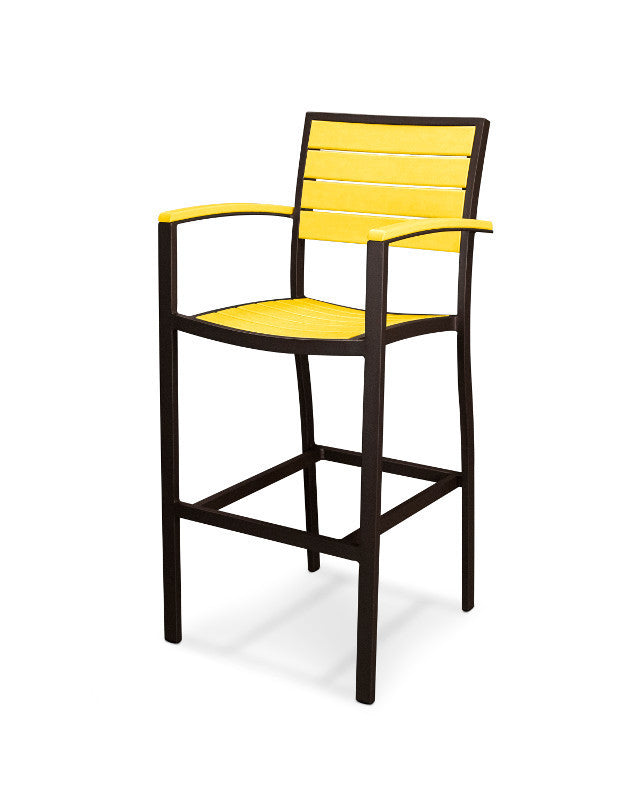 A202-16LE Euro Bar Arm Chair in Textured Bronze and Lemon
