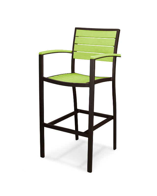 A202-16LI Euro Bar Arm Chair in Textured Bronze and Lime