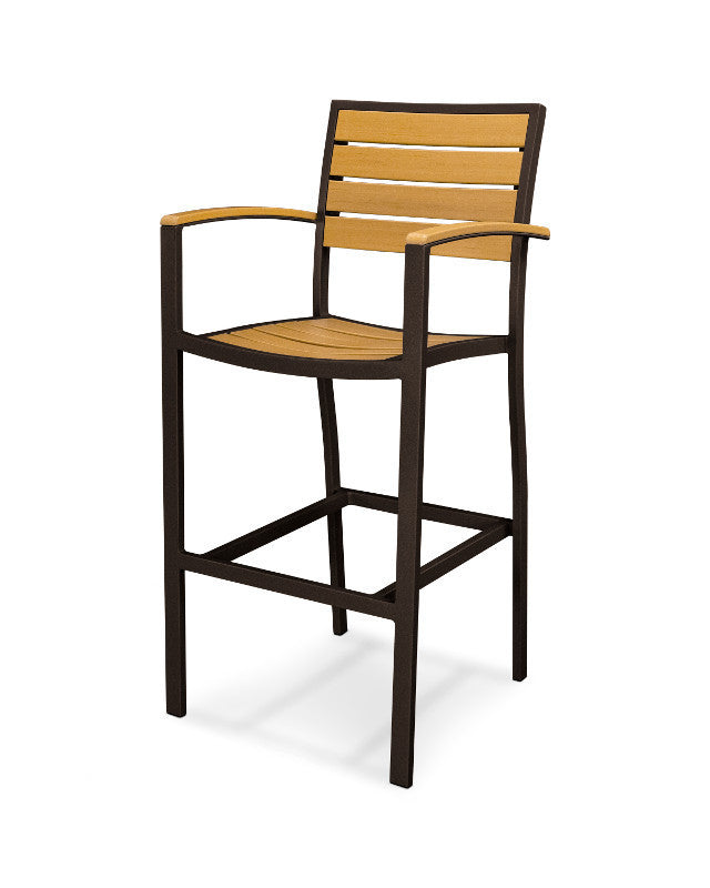 A202-16NT Euro Bar Arm Chair in Textured Bronze and Plastique Natural Teak