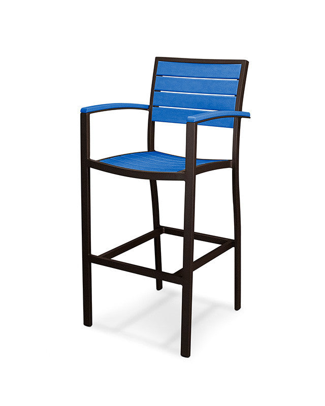 A202-16PB Euro Bar Arm Chair in Textured Bronze and Pacific Blue
