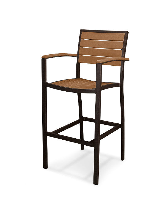 A202-16TE Euro Bar Arm Chair in Textured Bronze and Teak