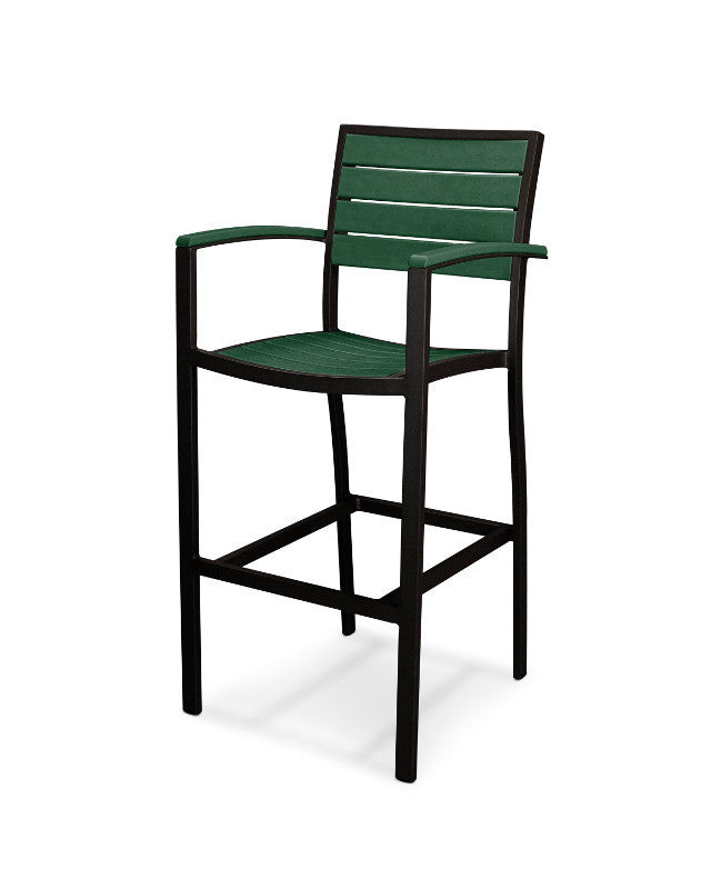 A202FABGR Euro Bar Arm Chair in Textured Black and Green