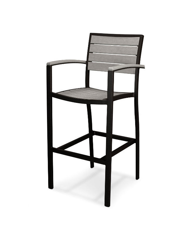 A202FABGY Euro Bar Arm Chair in Textured Black and Slate Grey