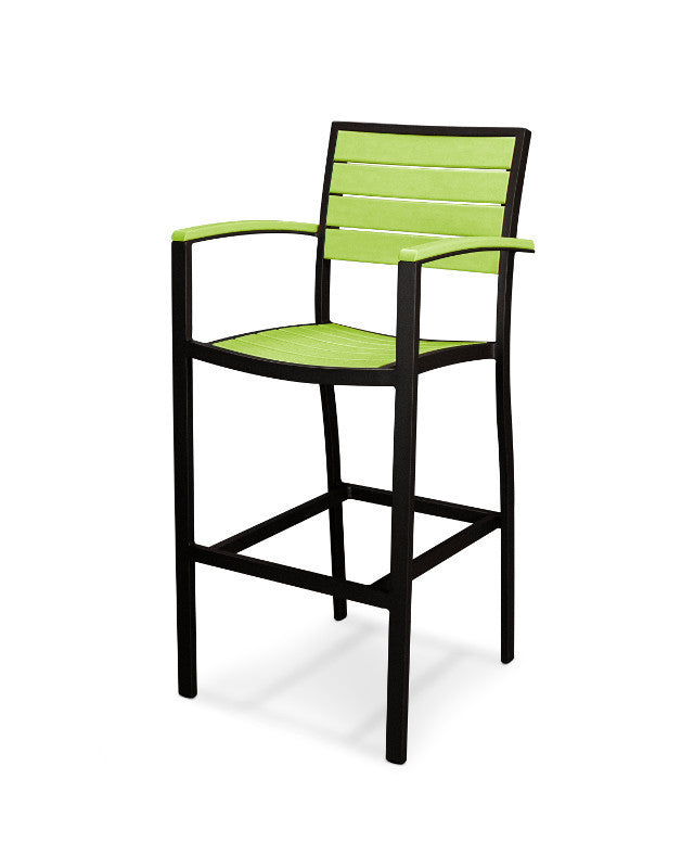 A202FABLI Euro Bar Arm Chair in Textured Black and Lime
