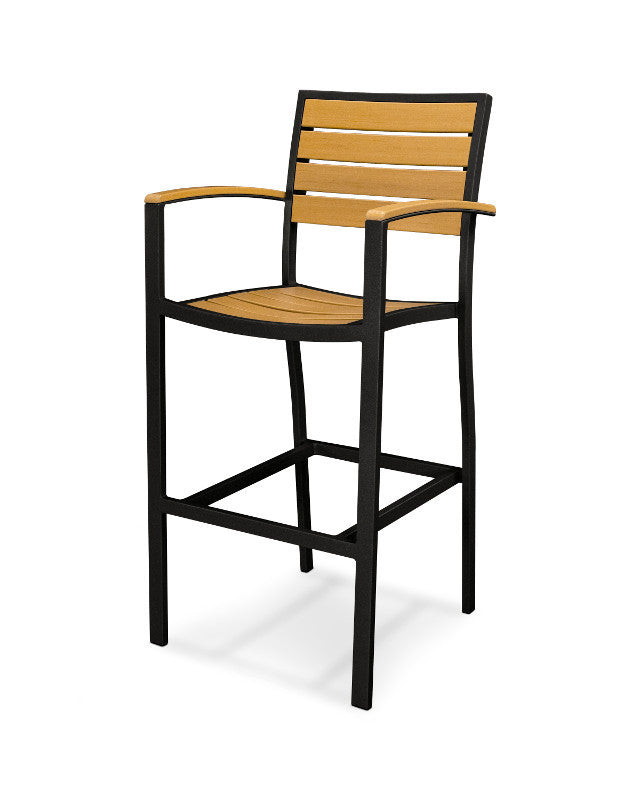 A202FABNT Euro Bar Arm Chair in Textured Black and Plastique Natural Teak