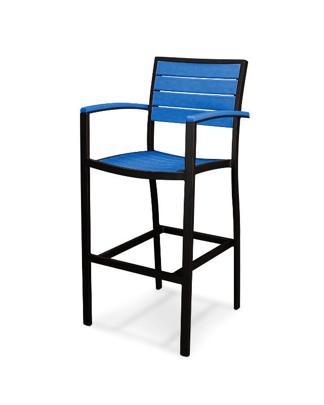 A202FABPB Euro Bar Arm Chair in Textured Black and Pacific Blue