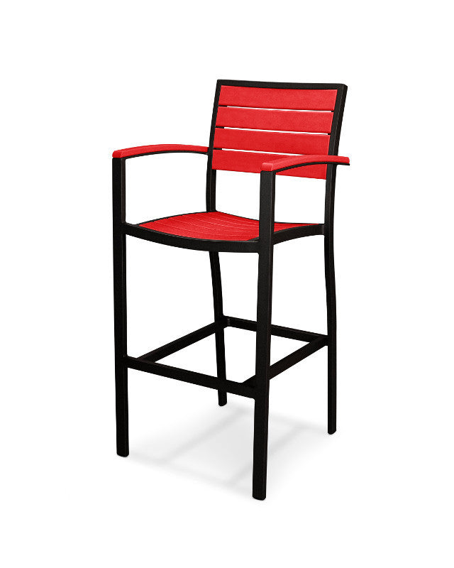 A202FABSR Euro Bar Arm Chair in Textured Black and Sunset Red